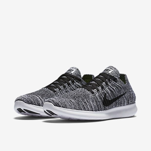 nike free rn flyknit women's running shoe white/black