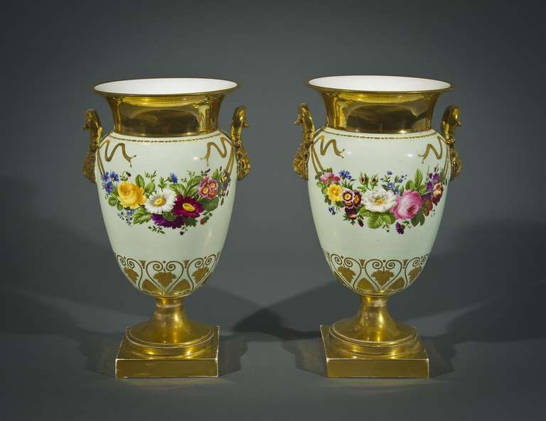 Pair 'Old Paris' Vases with Garlands of Flowers against a Robin's Egg   Offered By Hirschl & Adler Galleries  $16,000