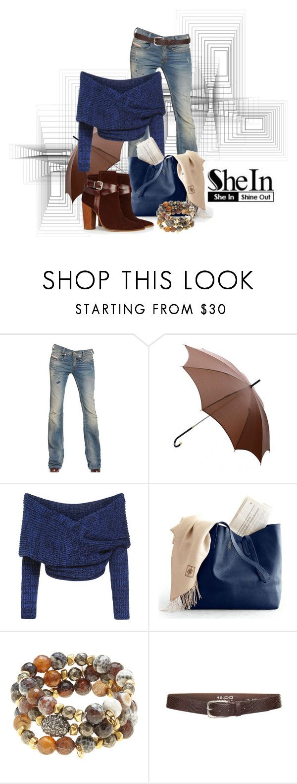 """""""SHEIN CONTEST: BLUE CROP SWEATER!!!!!"""" by scandalicious ❤ liked on Polyvore featuring Schumacher, Diesel, Gucci, Hipchik, s.pa accessoires and Warehouse"""