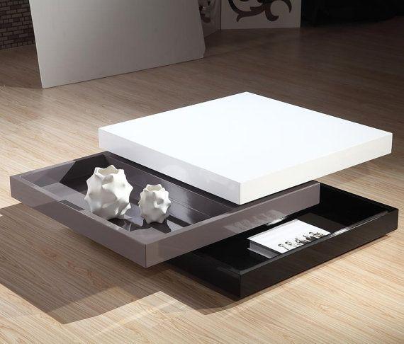 Modern High Gloss White Square Coffee Table With 2 Layers: Square Shape Wood High Gloss Coffee Table Por CinotHome En