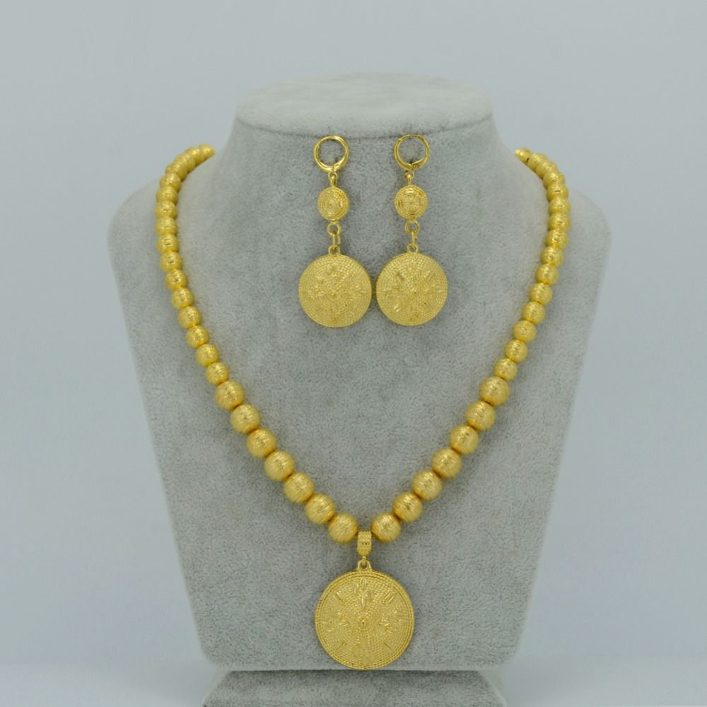 Beads Necklace Earrings For Women Gold Plated Ethiopian Jewelry
