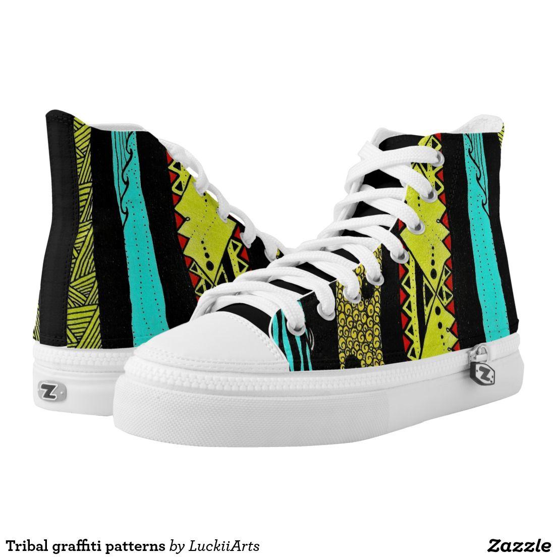 Tribal graffiti patterns printed shoes