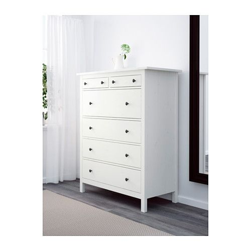 HEMNES Kommode mit 6 Schubladen, weiß gebeizt weiß gebeizt 108x130 - schlafzimmer kommode weiß
