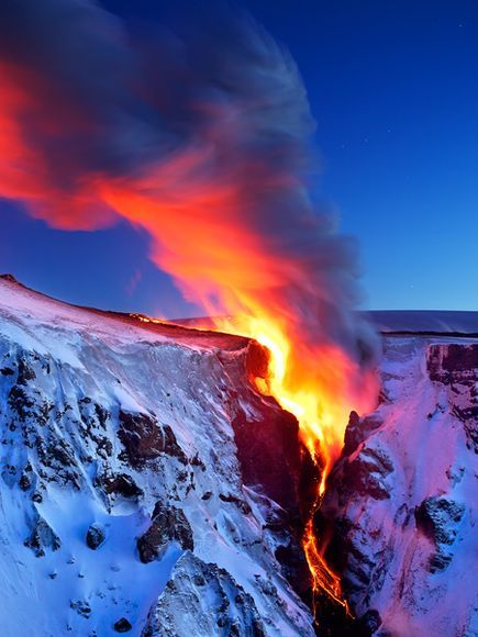 Lava flows into a valley in southern Iceland near the Eyjafjallajökull volcano.