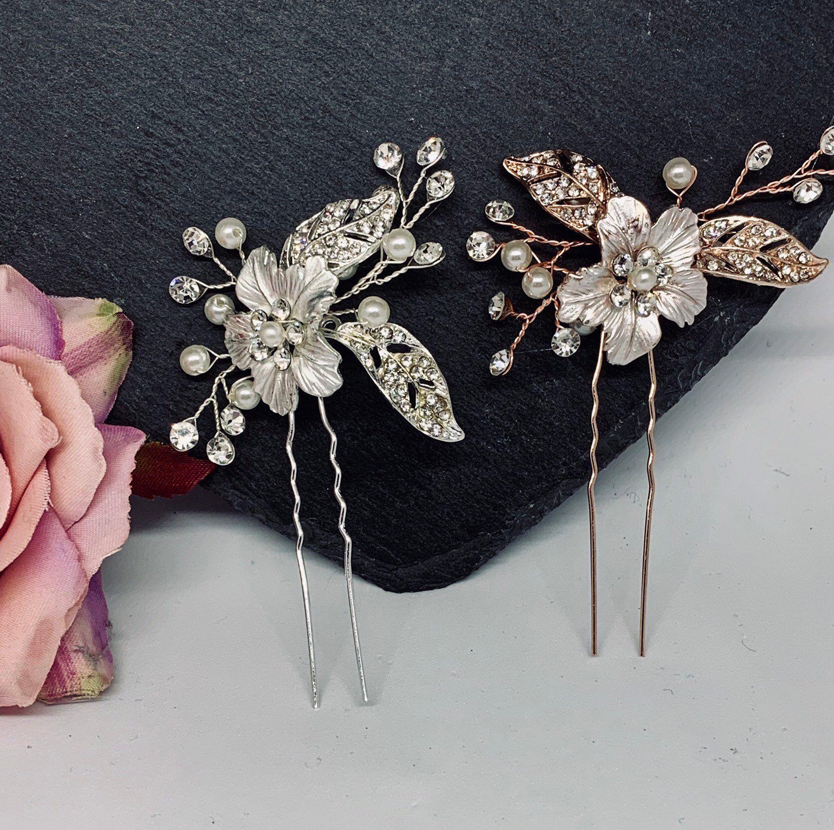 hair pin, rose gold hair pin, wedding hair accessories