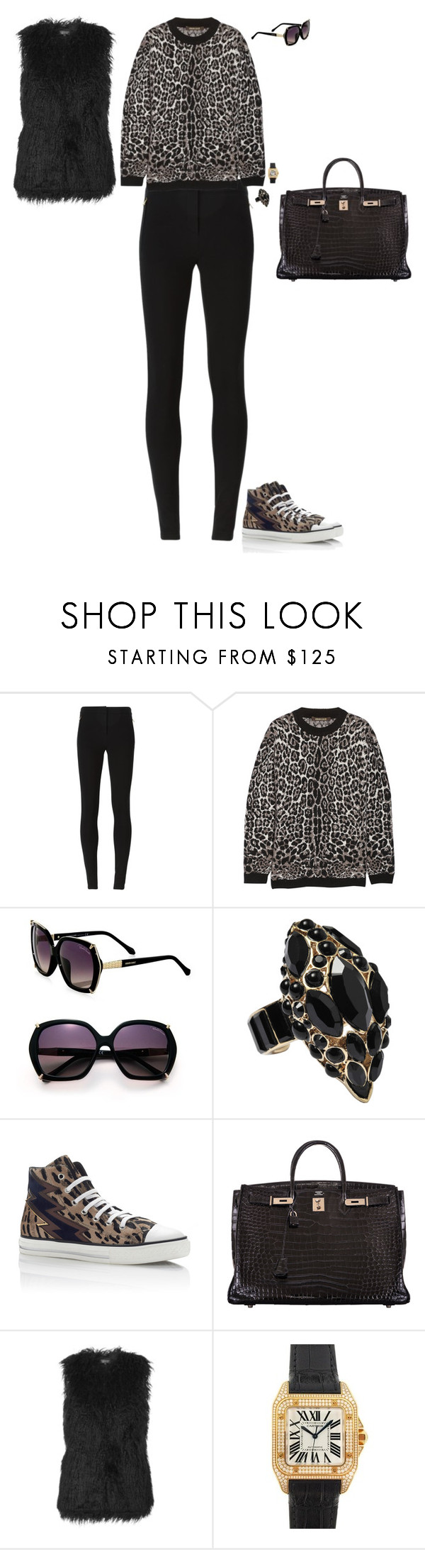 """""""Hi-lo moment"""" by stylev ❤ liked on Polyvore featuring Roberto Cavalli, Hermès, Topshop and Cartier"""