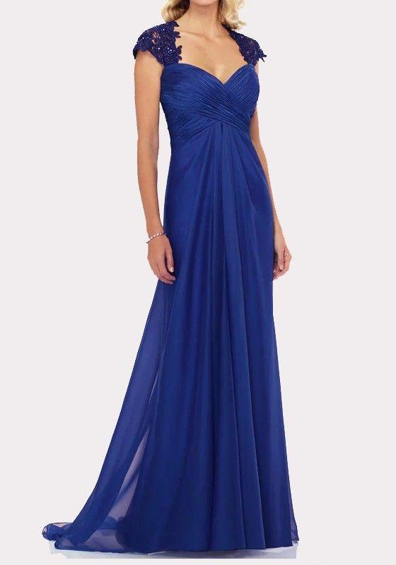 201af0eb4e8 Robe maxi longue avec dentelle drapé dos nu v-cou élégant de soirée bleu  foncé