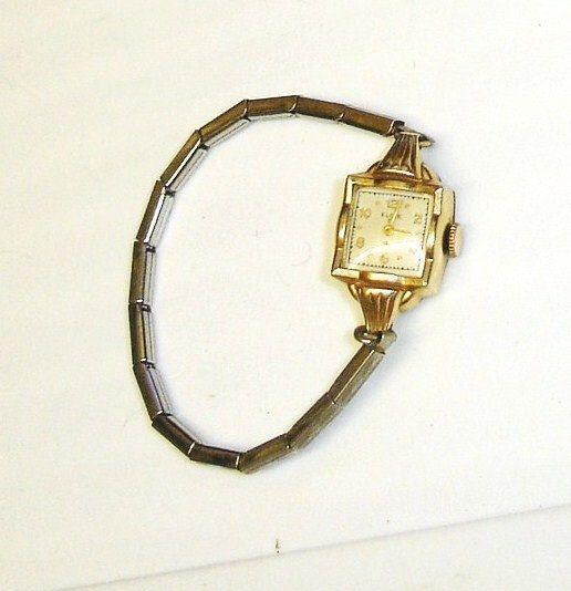 Vintage Art Deco Ladies Elgin 10k Yellow Gold Filled 19 Jewel Movement Dress Watch W Stretch Band Vintage Watches Women Vintage Art Deco Vintage Watches