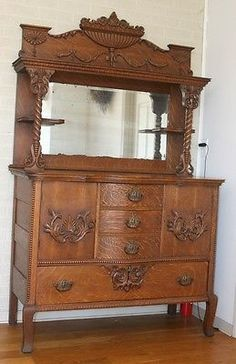 Antique Oak HUTCH Highboy Cabinet Sideboard Buffet W Drawers Shelf Mirror