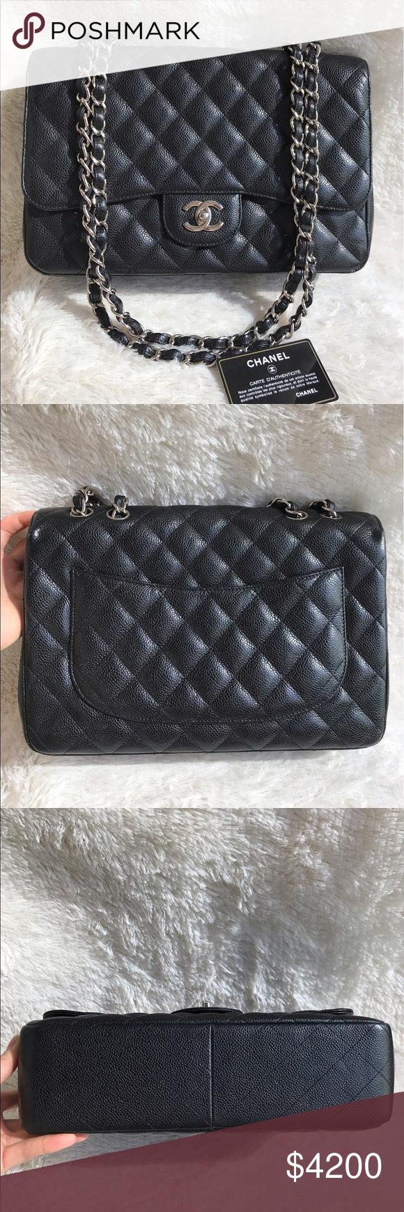 6dd6c2e4e7fd Sold-Authentic Chanel CF Jumbo SF Black Caviar Classic Flap Jumbo in Single  Flap, discontinued model hence you can't get it from Chanel store anymore.