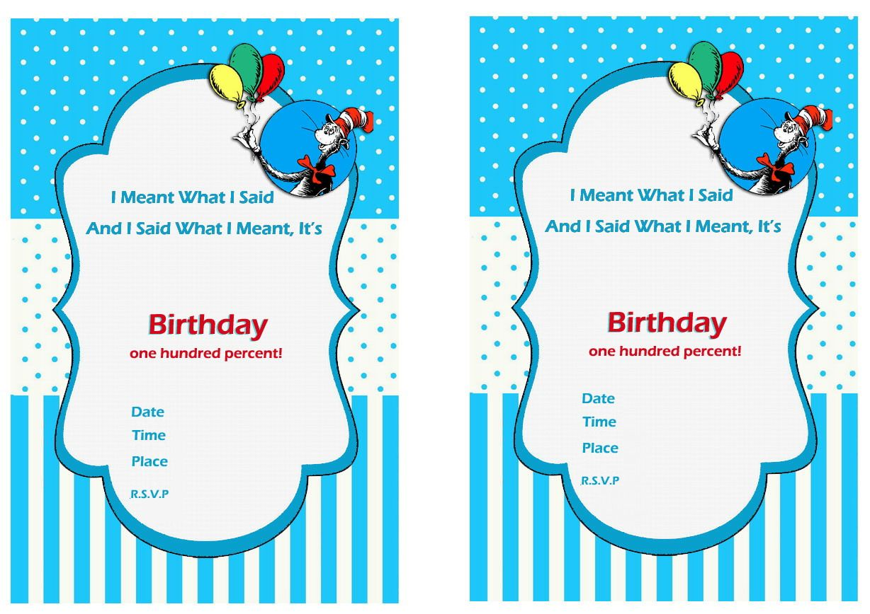 Download FREE Printable dr seuss first birthday invitations Download ...