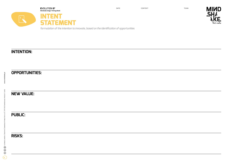 Intent Statment Mindshake Design Thinking TEMPLATES PDF: http://www ...