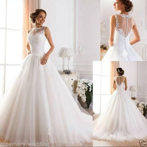 White Ivory Pearl Ball Gown Wedding Dress Bridal Gown Custom 6 8 10 12 14 16 18+