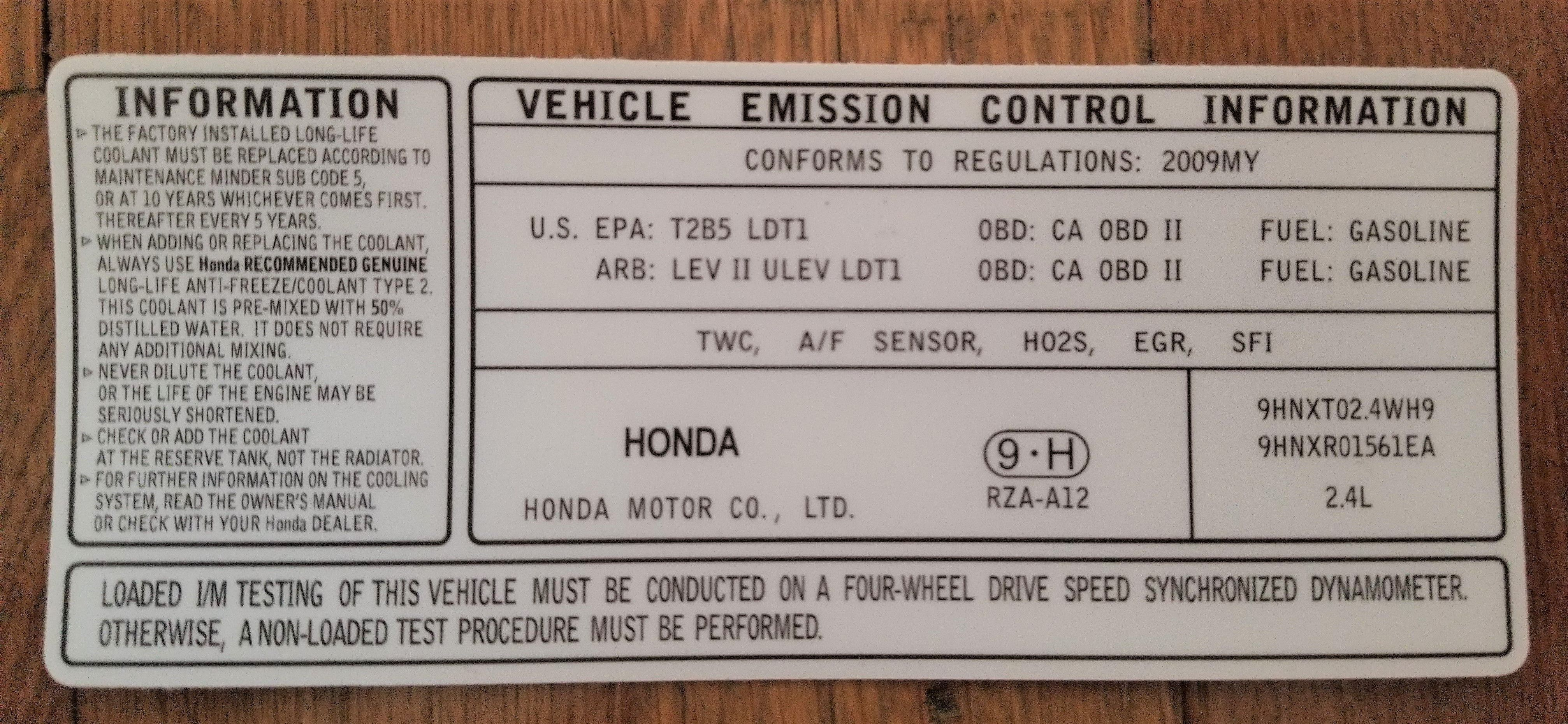 Vehicle Emission Control Information Emissions Honda Obd