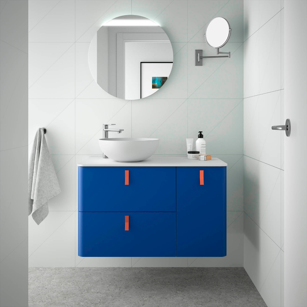 Mueble De Bano Uniiq 900 Derecha Azul Oscuro 897 X 540 X 450 Mm En