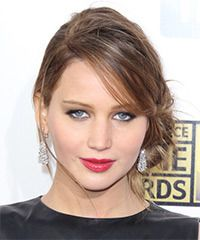 Jennifer Lawrence Hairstyle: Casual Updo Long Straight Hairstyle