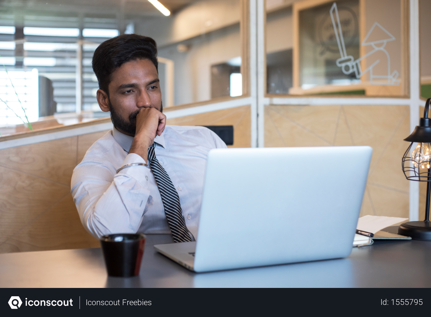 Free Indian Smart Businessman Thinking Something While Sitting Near Laptop Photo Download In Png Jpg Format Business Man Photo Indian