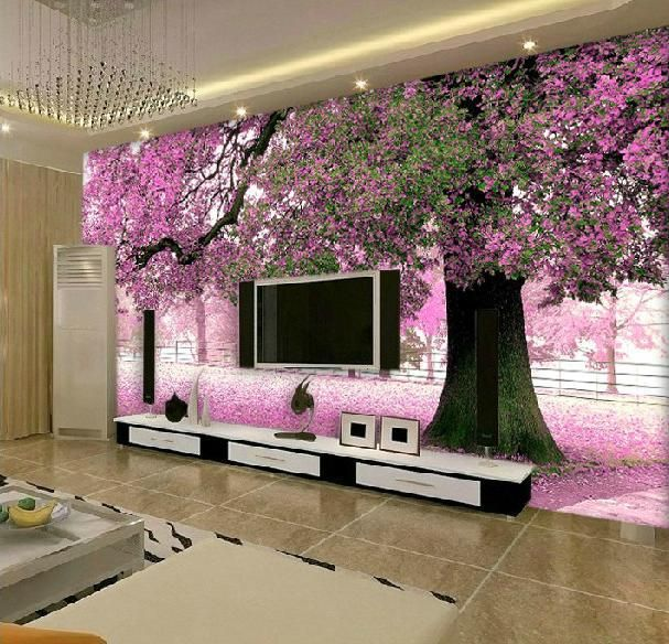 Large Flower Wall Murals | Free-Shiping-3D-Mural-Wallpaper ...