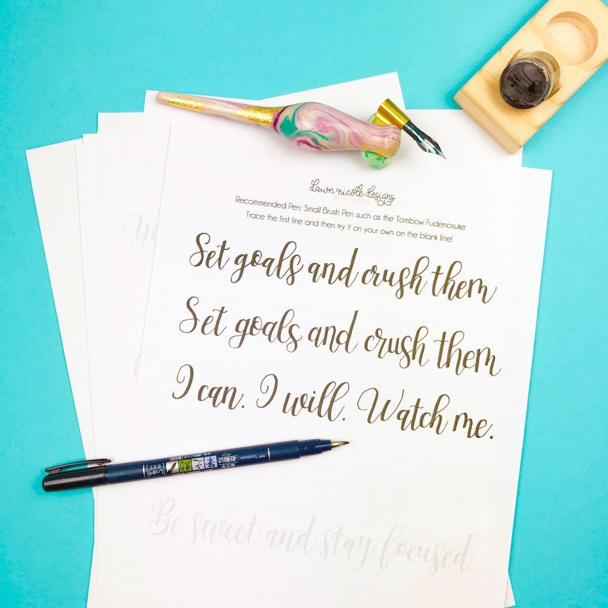 Motivational Free Calligraphy Practice Sheets | DIY