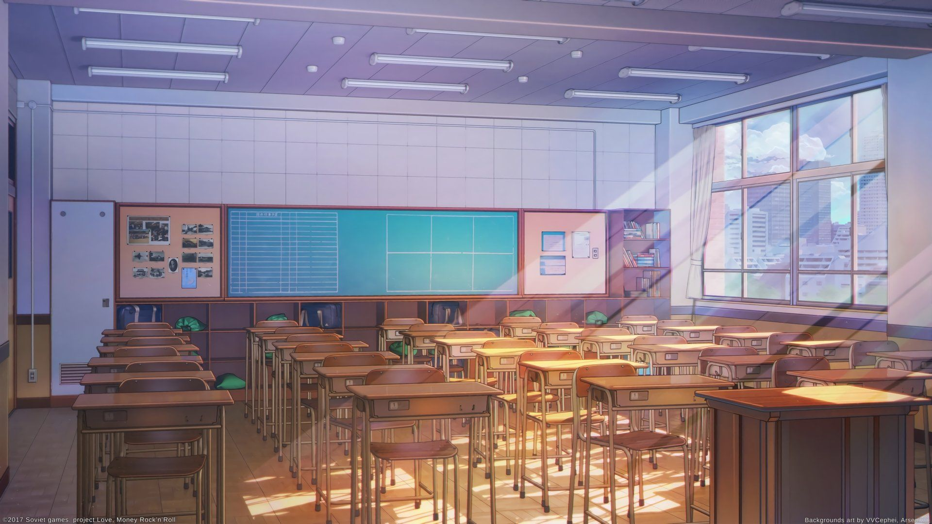 Anime Original Classroom Desk Chair Sunbeam Wallpaper Anime Scenery Anime Classroom Anime Scenery Wallpaper