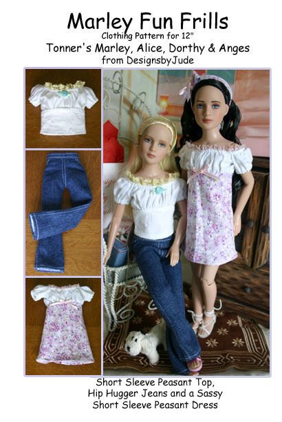 """Fun Frills Doll Clothes Sewing Pattern 12/"""" Marley /& 14/"""" Patience Tonner"""