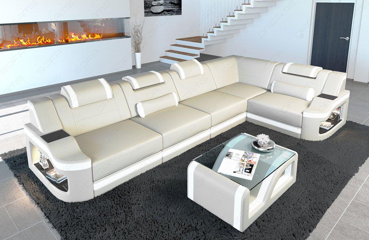 Leather Corner Sofa Manhattan L Shape With Led Lights White Sofa