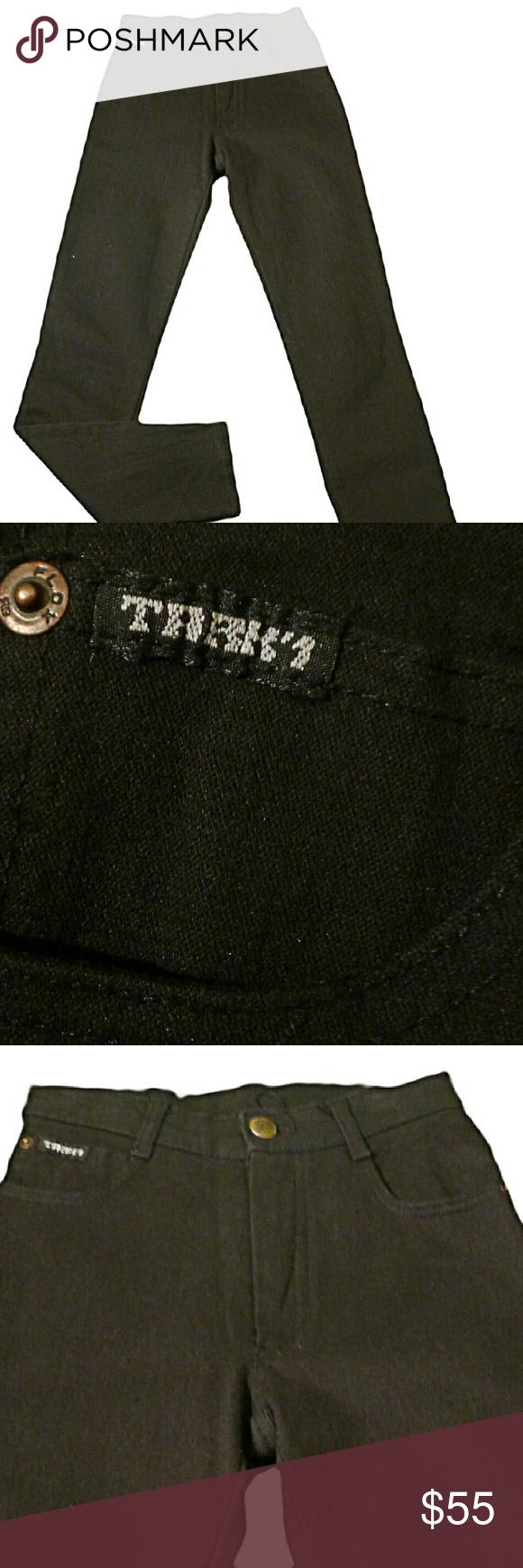 """Tark'1 Jeans Black Size 1 Pair of French brand Tark'1 jeans in great condition! These are tee tiny so please review measurements.  These jeans are a perfect match with the Tsunami Vest in my closet.  Waist: 21"""" (measured across waist and doubled) Rise: 8"""" (measured from crotch to top of zipper) Inseam:  26"""" (measured from crotch to bottom of leg) Tark'1 Jeans"""