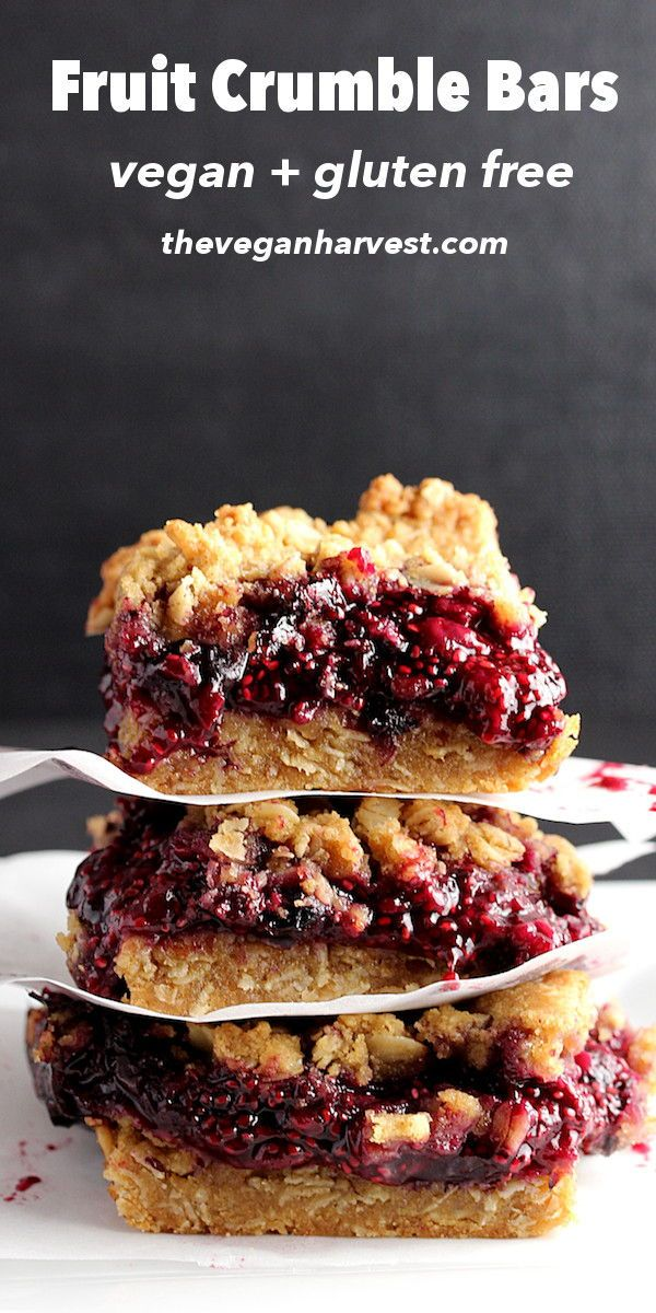 These fruit crumble bars are vegan, gluten-free, and delicious! Perfect for brea...