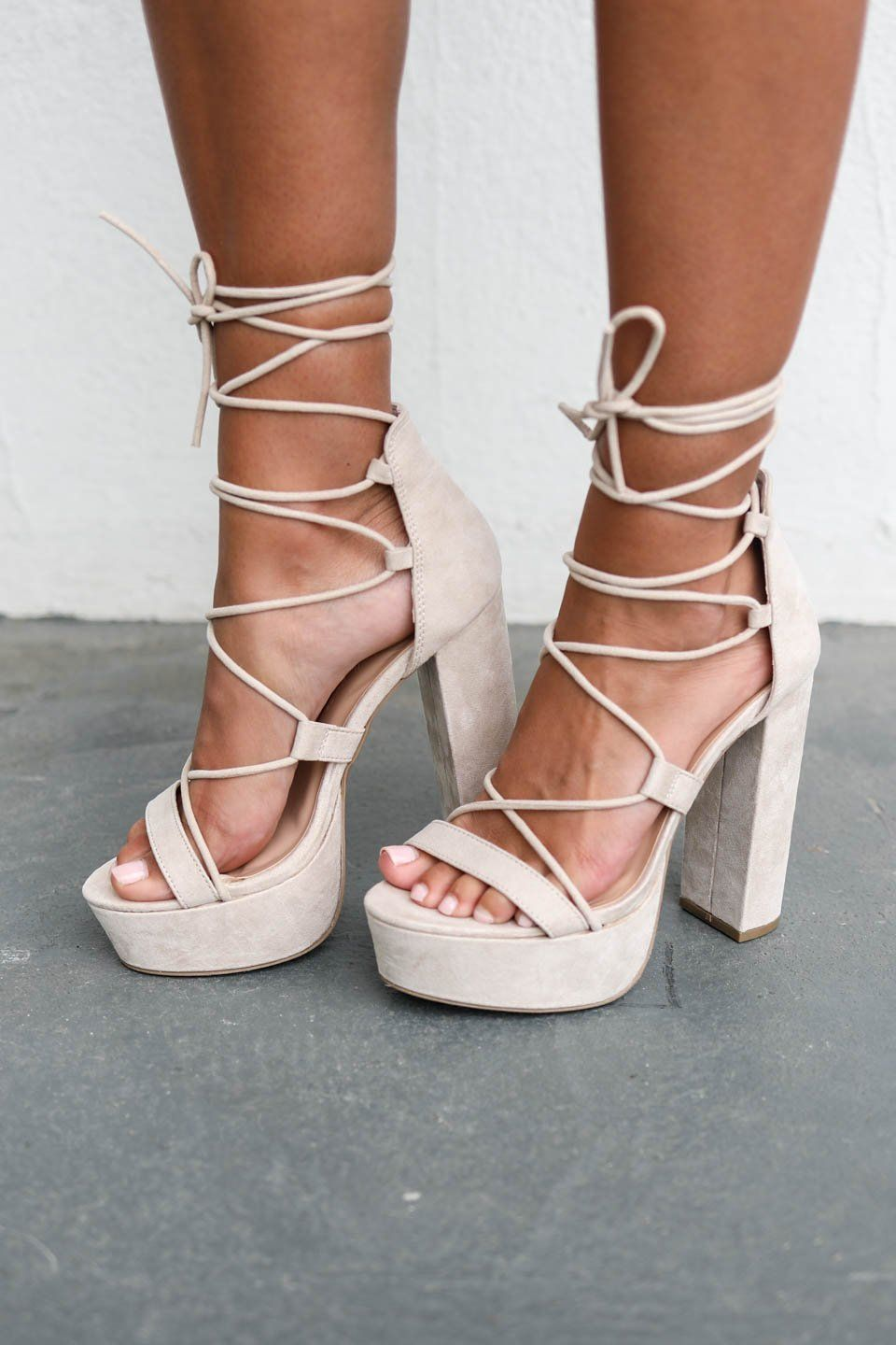 738120a0e3 Strike Three Lace Up Nude Platform Heel | Amazing Lace New Arrivals ...