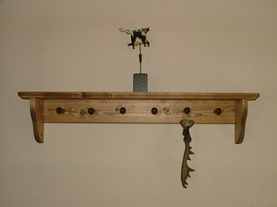 6 Shaker Peg Wall Shelf Coat Hanger By Sonshinewoodproducts 25 99