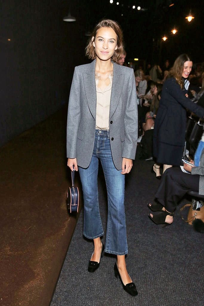 Le Fashion Blog Alexa Chung Cropped Flared Denim Short Hair Grey ...