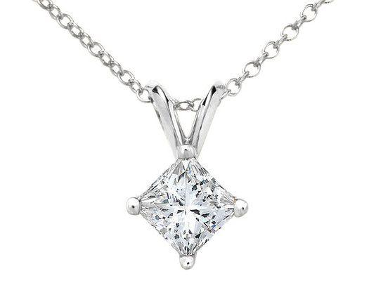Princess cut diamond solitaire pendant necklace 10 carat ctw in princess cut diamond solitaire pendant necklace 10 carat ctw in 14k white gold with aloadofball Images