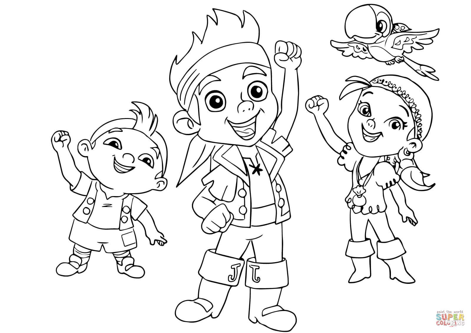 jake and the neverland pirates coloring page l izzy cubby and skully lfo - Jake And The Neverland Pirates Free Coloring Pages