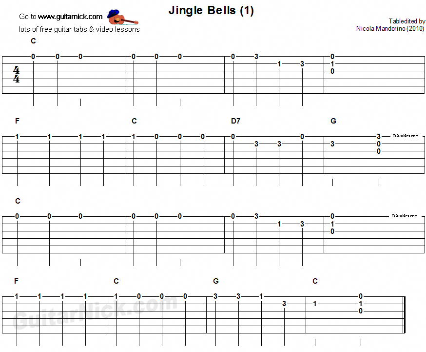 Jingle Bells 1 Easy For Beginners Guitar Tab Kidsguitar Guitar Tabs Easy Guitar Songs Learn Guitar Beginner