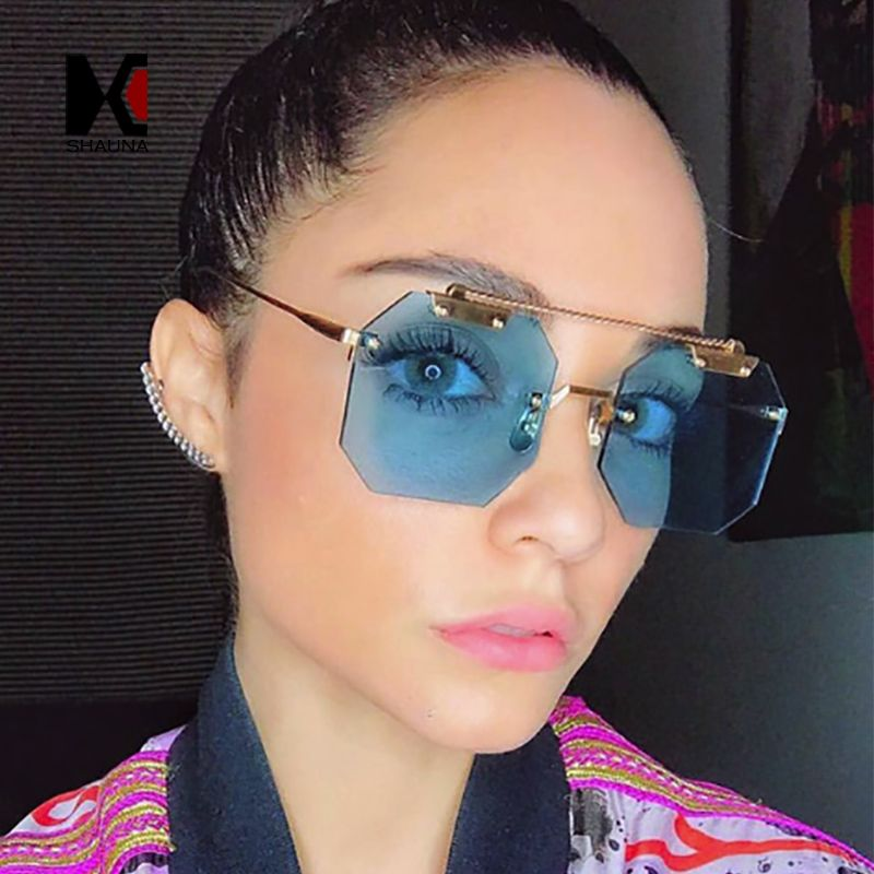 3a1b3268be SHAUNA Oversize Women Square Rimless Sunglasses Fashion Men Clear Red Blue  Pink Sun Glasses UV400 Review