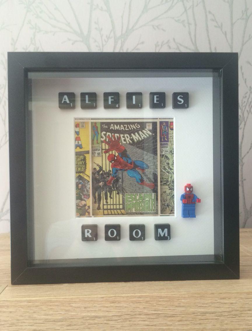 Superhero Spider man scrabble art box frame boys room, handmade ...