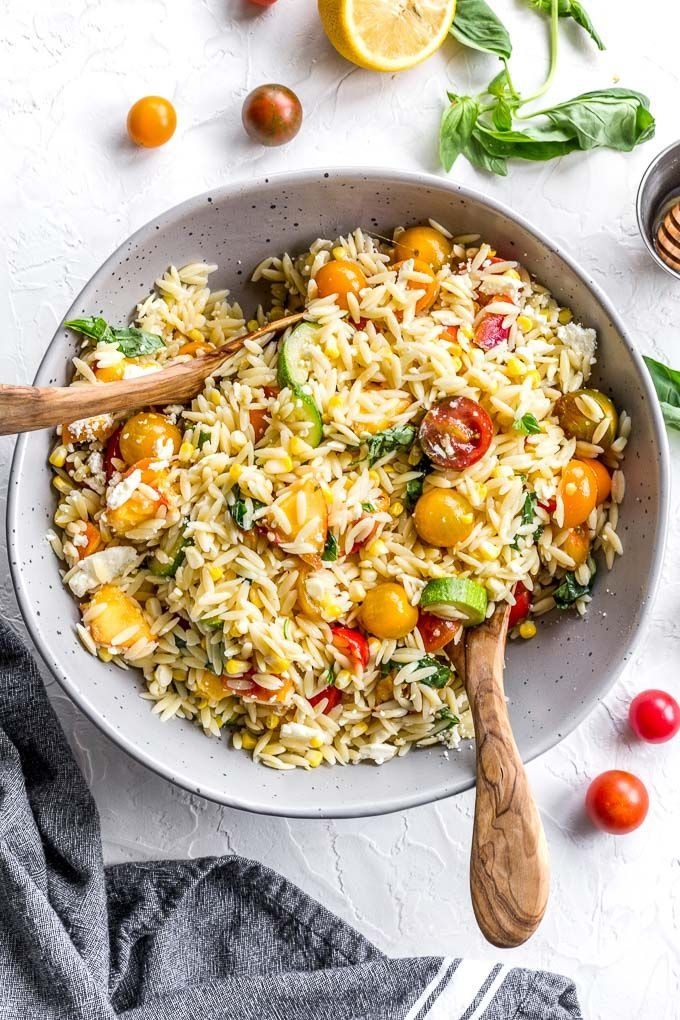 Summer Vegetable Orzo Salad (Vegetarian) Summer Vegetable Orzo Salad is a light and fresh pasta salad, loaded with grilled corn and zucchini, peaches, basil and feta. It brings together the best of summer ingredients, making it the perfect side dish for BBQs, picnics and potlucks.