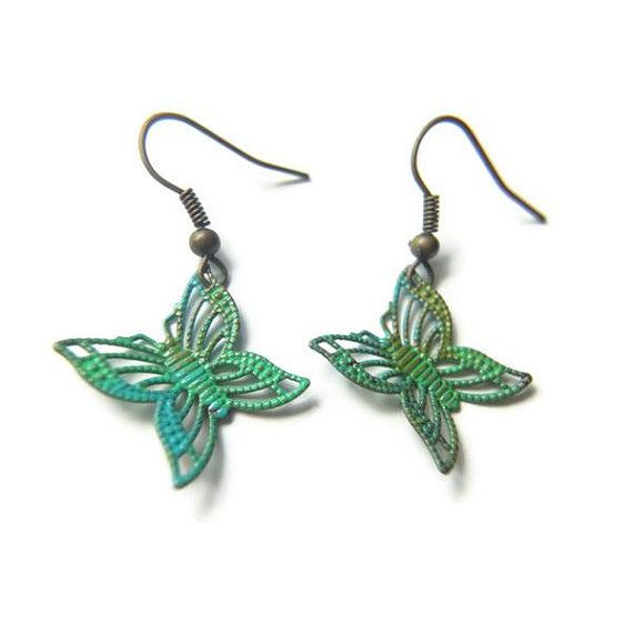 Painted Olive Green Turquoise Filigree Butterfly by LittleApples