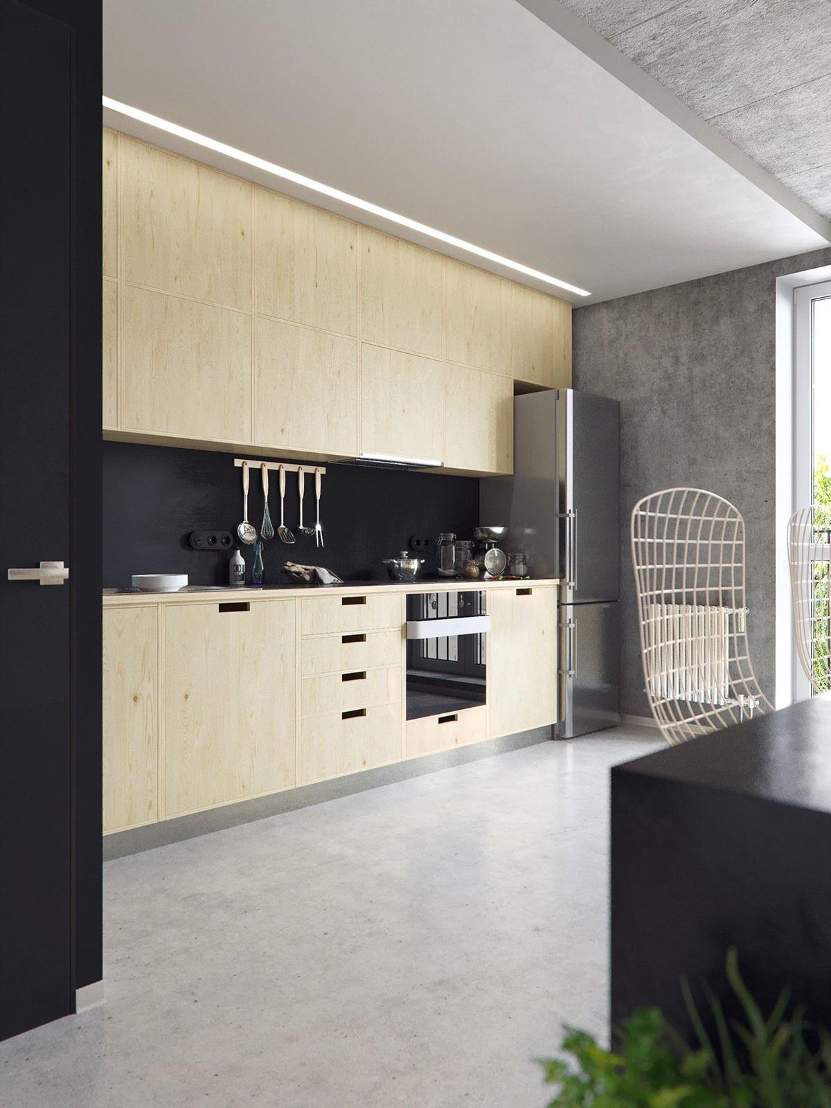 3 Concrete Lofts With Wide Open Floor Plans Kitchen