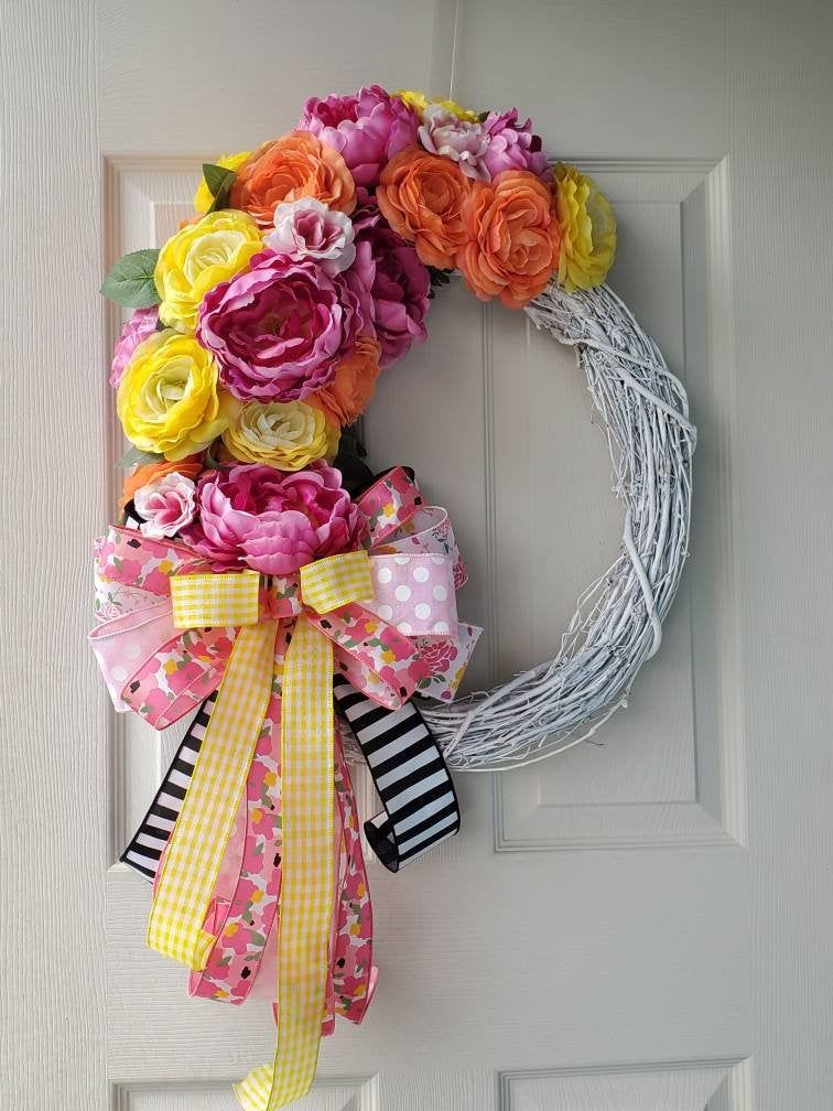 Photo of Free Shipping! Beautiful Colorful Spring/Summer White Grapevine Wreath /Doorhanger; Peonies Flowers White Grapevine Wreath