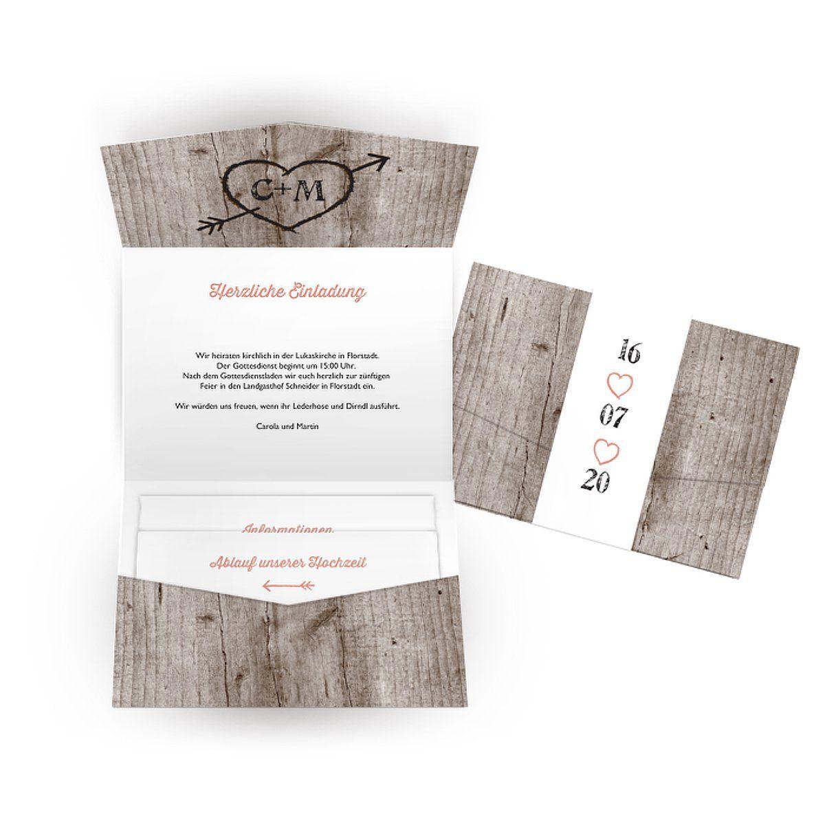 """Hochzeitseinladung """"Wooden Love"""""""
