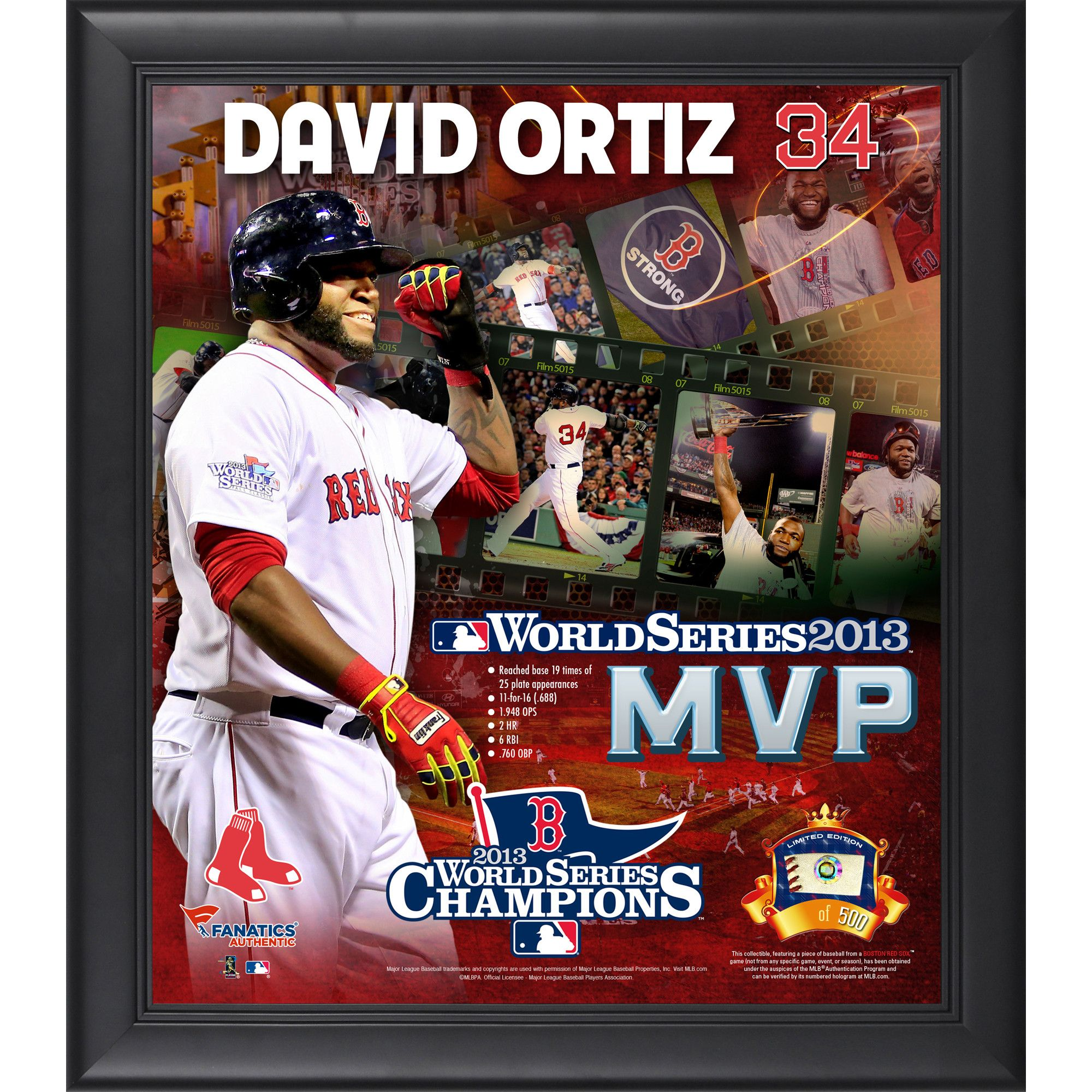 2013 World Series Champs MVP David Ortiz Framed 15x17 Core Collage with Game Used Ball Piece