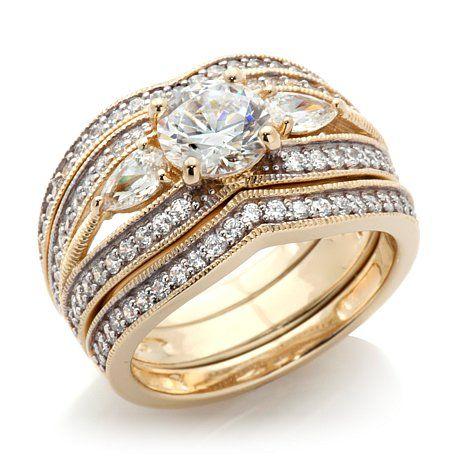 2.61ct Absolute™ Three-Stone Pavé 3-piece Ring Set