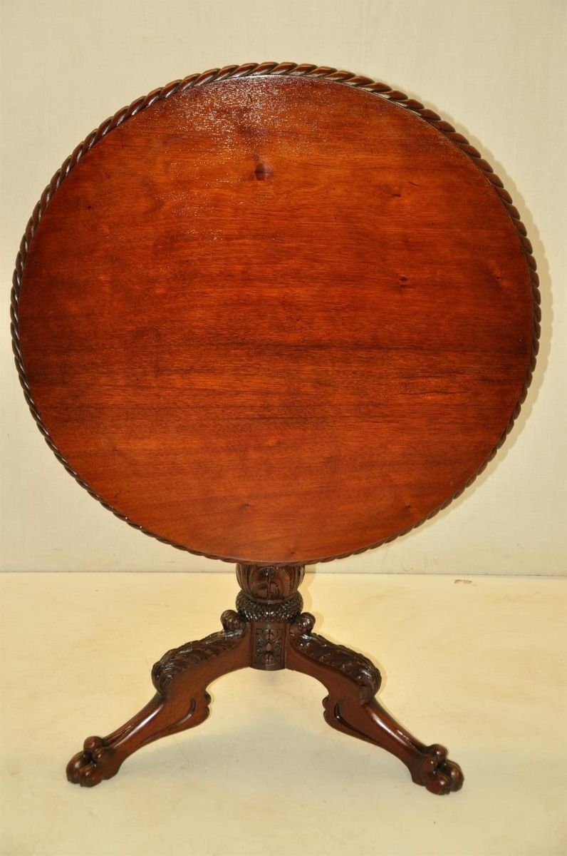 Here Is A Beautiful Period Federal Mahogany Tilt Top Table In Good Condition Featuring A Round Top With A Gadrooned Edge On Top Of A Mahogany Antiques Table 19