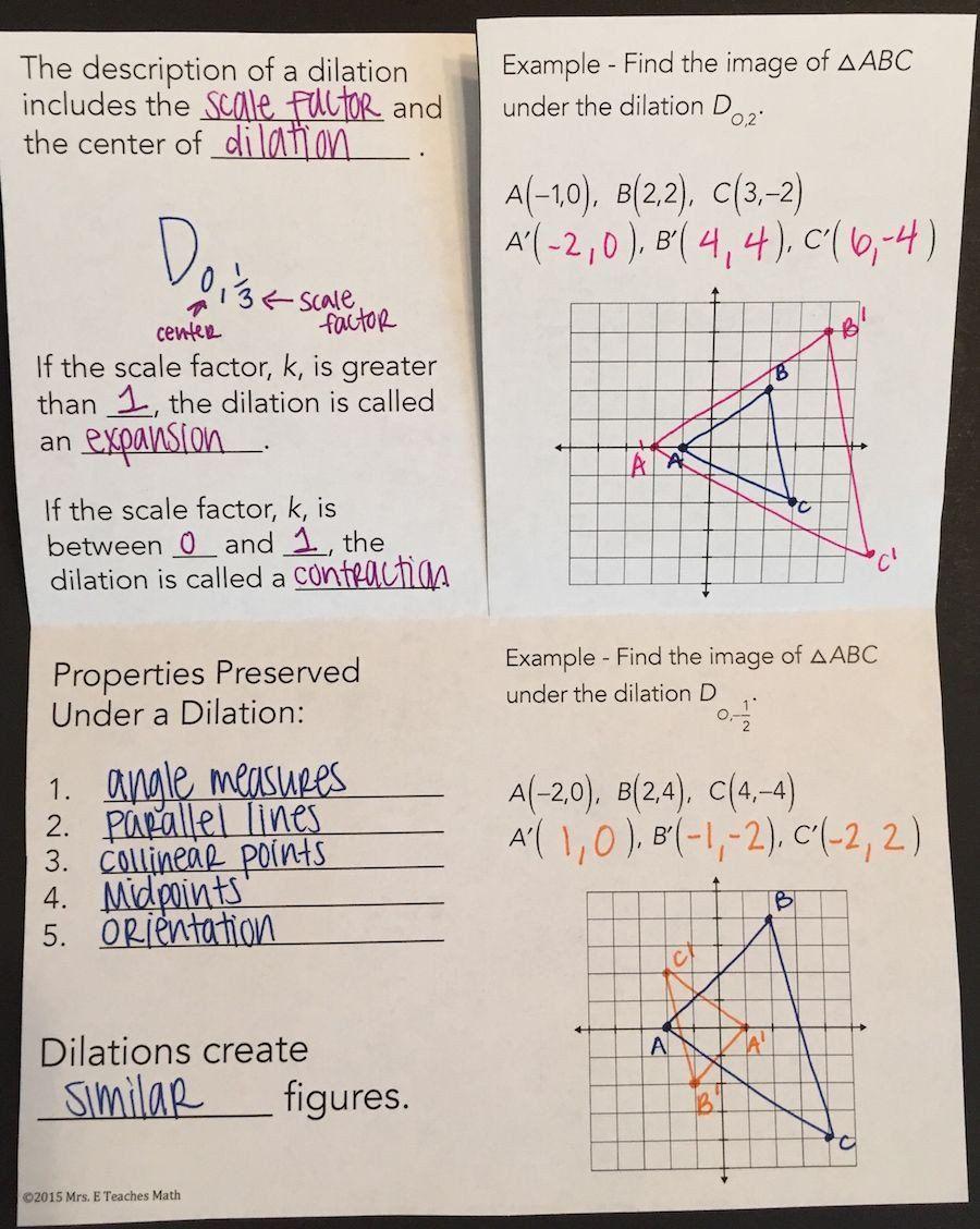 Dilations Translations Worksheet Answers Geometric Dilations Foldable In 2020 Teaching Geometry Geometry Interactive Notebook Algebra Worksheets