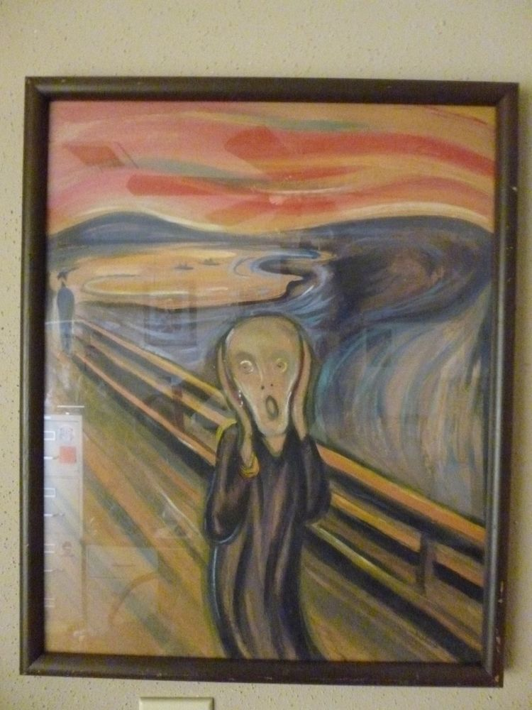Painted Signed Copy of The Scream Edvard Munch By Artist