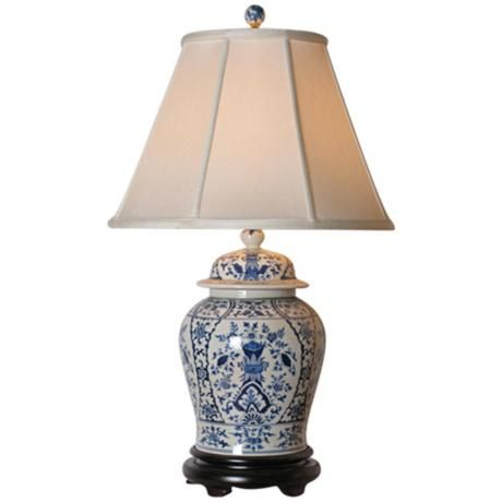 English Blue and White Porcelain Temple Jar Table Lamp - Style ...