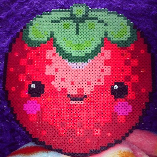 Large kawaii strawberry perler beads by theshakespearett