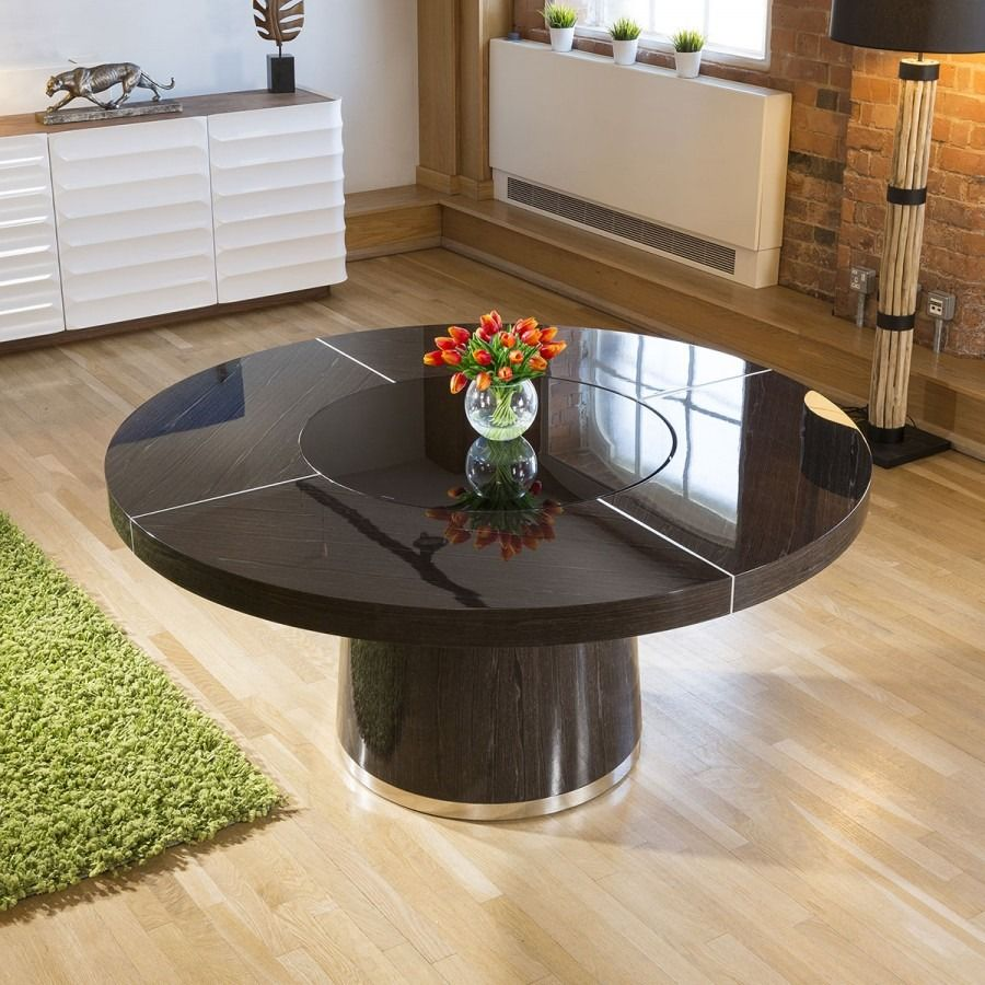 Large Round Smoked Black Oak Dining Table Glass Lazy Susan Led 1 6m Oak Dining Table Round Dining Table Dining Table