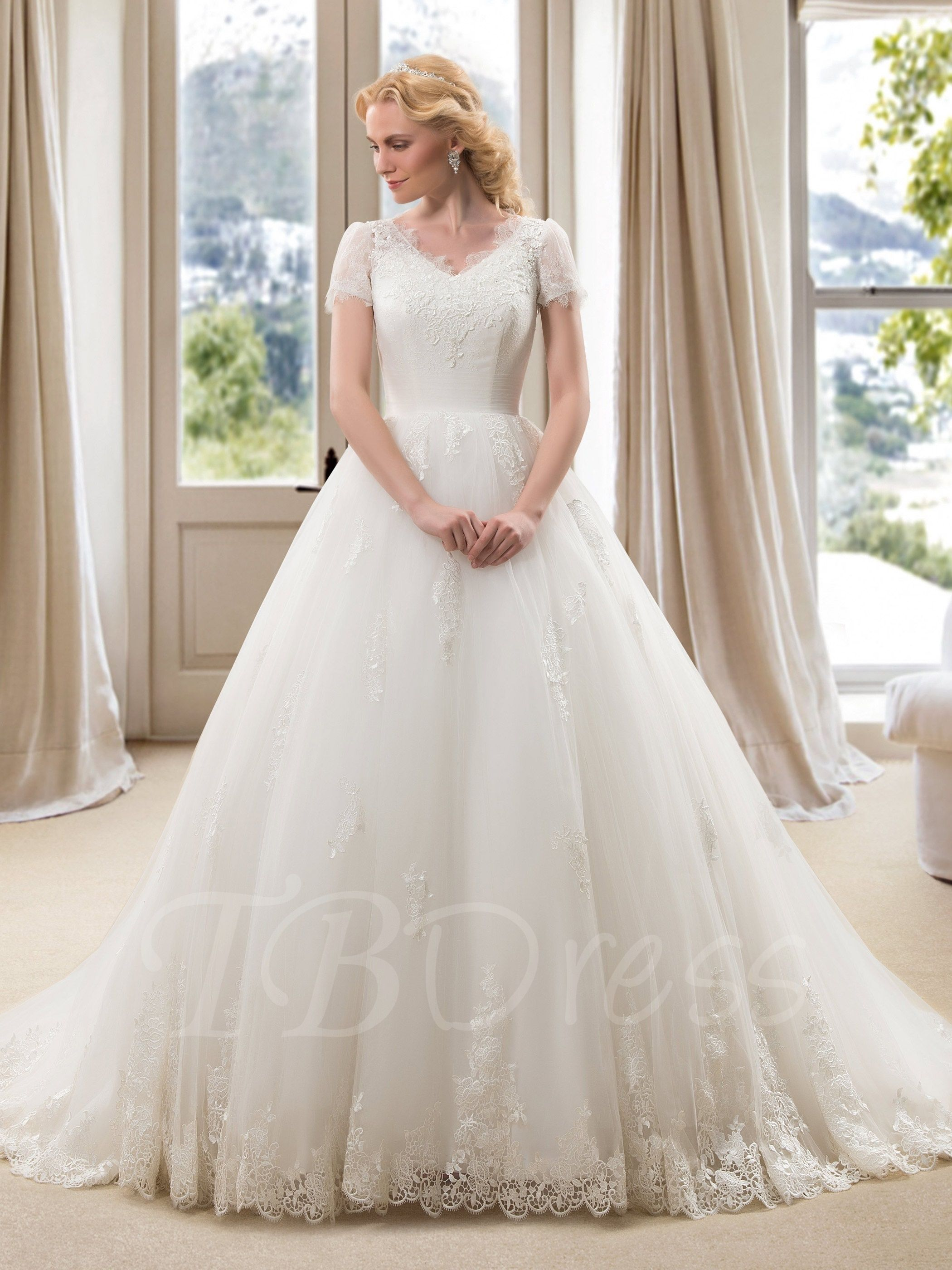 Vneck short sleeve aline plus size wedding dress wedding dress